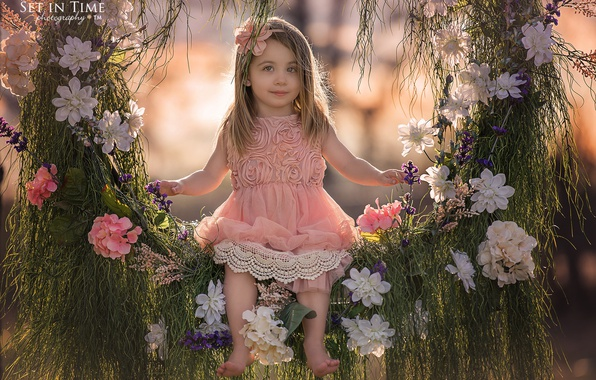 Picture grass, flowers, nature, swing, girl, child