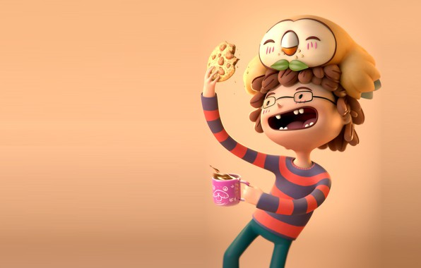 Picture owl, boy, art, friends, Rowlet likes cookies, Alexandre Collonge