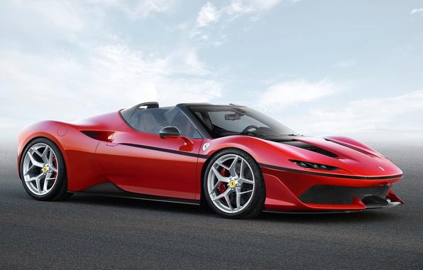Picture car, Ferrari, red, logo, sky, cloud, horse, asphalt, kumo, stallion, Ferrari J50, J50
