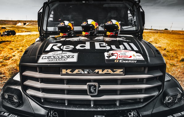 Picture Logo, Truck, The hood, Master, Russia, Kamaz, Rally, Rally, KAMAZ, The front, The roads, RedBull, …