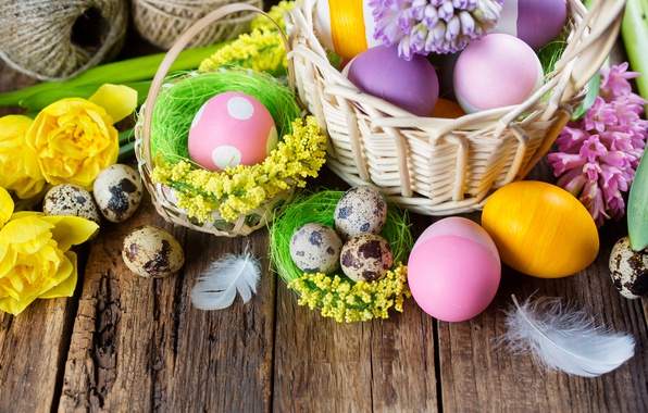 Picture flowers, basket, Board, eggs, Easter, tulips, spring, Easter, painted, eggs, basket, Holidays, hyacinths, tulip