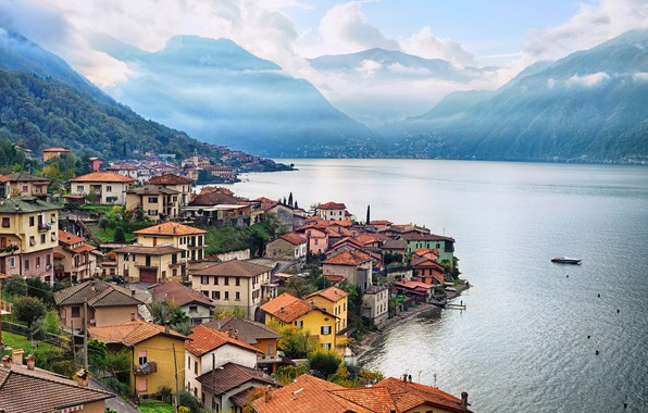 Picture Home, Mountains, The city, Lake, Italy, Landscape, Lombardy, Como