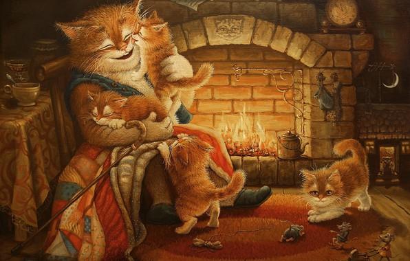 Picture cat, figure, tale, the evening, art, kittens, fireplace, children's, Tales of the cat Kuzma, Alexander …