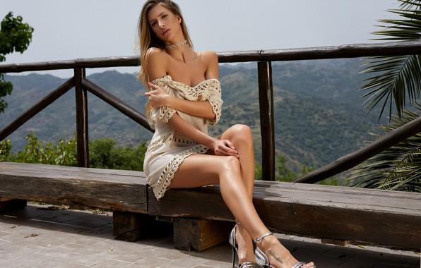 Picture dress, model, beauty, look, blonde, posing, Claudia, heels