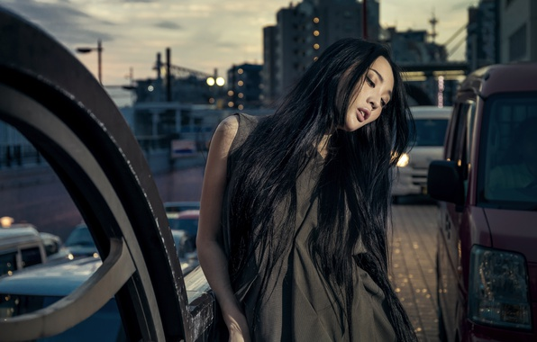 Picture girl, machine, the city, style, mood, model, Asian, long hair