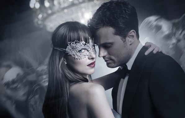 Picture cinema, Anastasia, movie, film, mask, Dakota Johnson, Jamie Dornan, Fifty Shades of Grey, Steele, Christian …