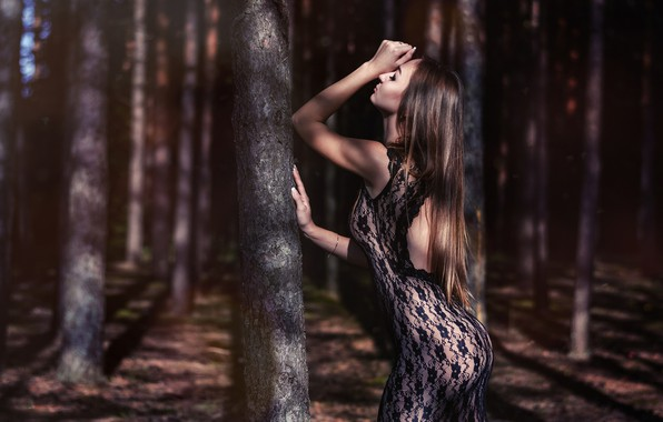 Picture forest, girl, trees, pose, mood, figure, dress, long hair, Sergei Timashev, Natalia Sinkevich