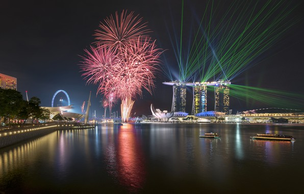 Picture lights, lights, skyscrapers, salute, Singapore, architecture, megapolis, blue, night, fountains
