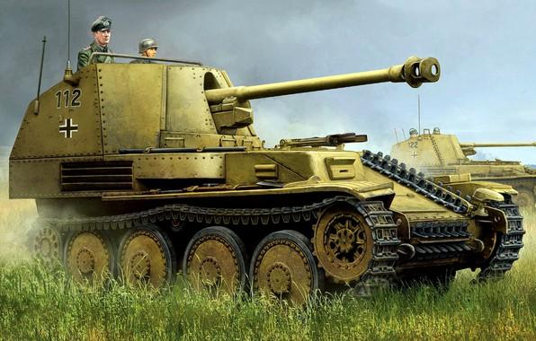 Wallpaper tank fighter, self-propelled artillery, during the Second world war, The third Reich, Marder III, light ...