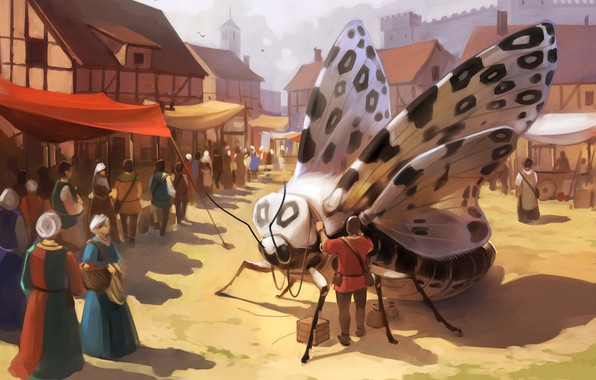 Picture the city, people, fantasy, butterfly, wings, art, market
