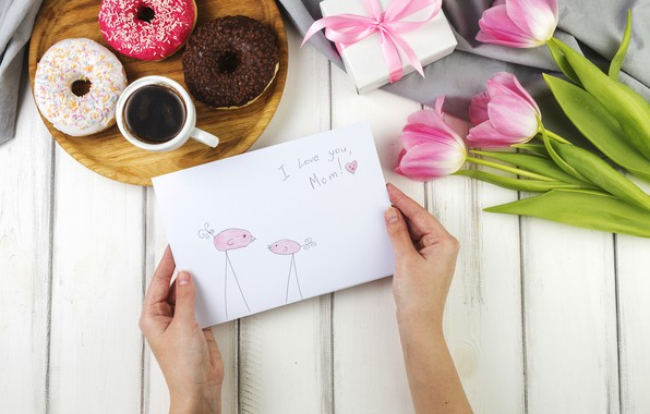 Picture holiday, Love, tulips, box, flowers, postcard, gift, coffee, paper, family, floral, Mothers day