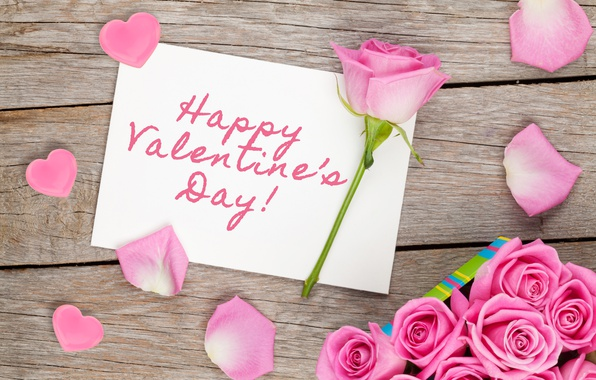 Picture roses, hearts, love, wood, pink, romantic, hearts, sweet, gift, petals, roses, valentine`s day