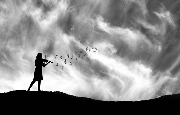 Picture girl, notes, violin, silhouette