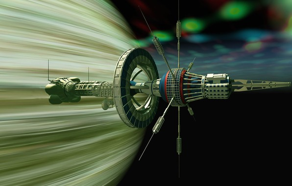 Picture space, flight, camera, The USS Boreas near Gasplanet
