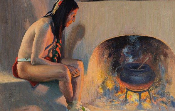 Picture fire, stove, boiler, 1917, Eanger Irving Couse, A Village Fireplace