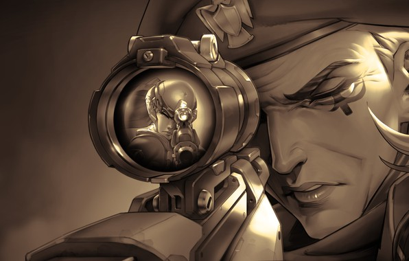 Picture sniper, sight, Overwatch, Widowmaker, Amelie Lacroix, game art, Absurdres Ana