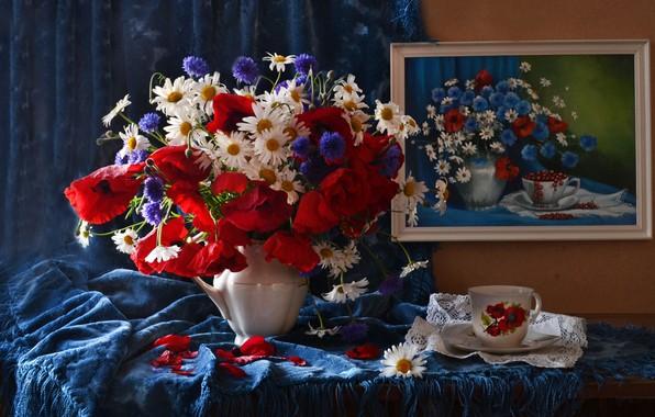 Picture Maki, chamomile, bouquet, picture, Cup, still life, cornflowers