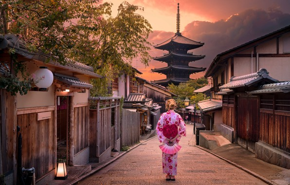 Picture girl, sunset, the city, street, Japanese, Japan, houses, pagoda, Japan, Kyoto, Kyoto, fences