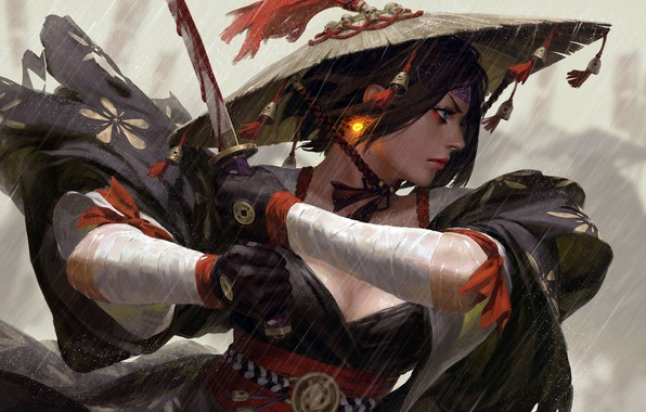 Picture girl, sword, blood, fantasy, rain, weapon, hat, blue eyes, short hair, katana, lips, face, painting, ...