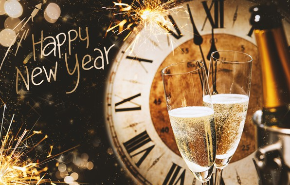 Picture decoration, night, balls, watch, tree, New Year, glasses, champagne, 2018, New Year, decoration, Happy