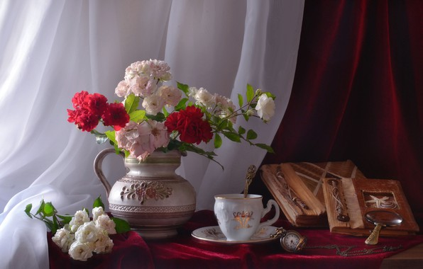 Picture flowers, style, watch, roses, mug, pitcher, still life, albums