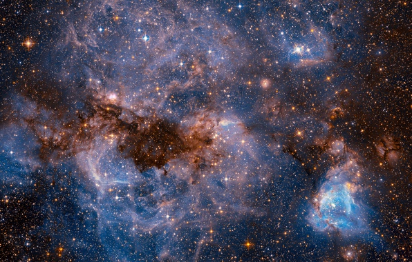 Picture space, stars, NASA, The Large Magellanic Cloud, photos from Hubble, dwarf galaxy of type SBm, …