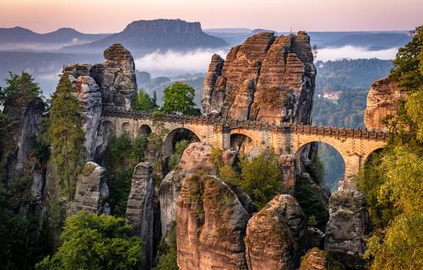 Picture landscape, mountains, bridge, nature, rocks, vegetation, Germany, Saxon Switzerland, array, Bastei, Bastei