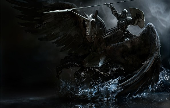 Photo wallpaper weapons, wings, Horse, armor, black, spear, knight