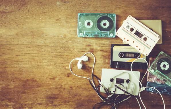 Picture retro, music, music, headphones, retro, headphones, cassettes, cosity