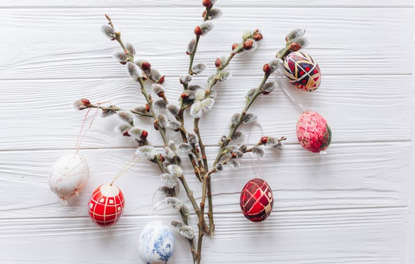 Picture branches, eggs, spring, colorful, Easter, wood, Verba, spring, Easter, eggs, decoration, Happy, tender