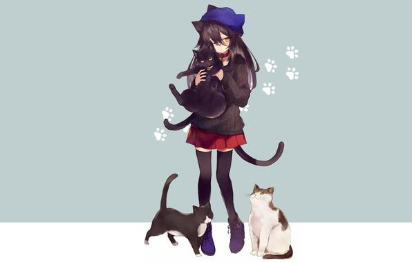 Photo wallpaper girl, cat, cat, anime, cats