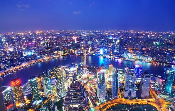 Picture river, China, building, panorama, China, Shanghai, Shanghai, night city, skyscrapers, the Huangpu river, Huangpu River