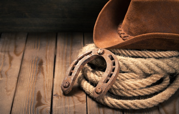 Picture hat, wooden floor, Horseshoe, cowboy hat