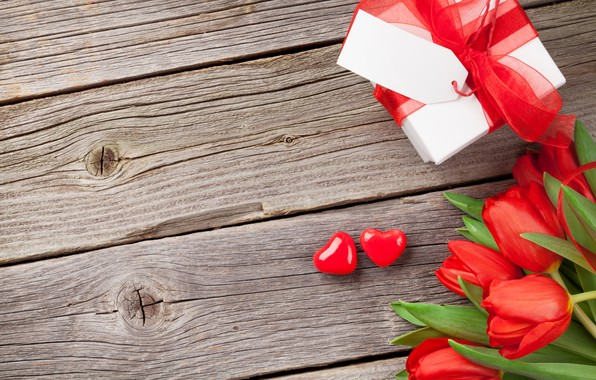 Picture love, flowers, gift, bouquet, hearts, tulips, red, love, wood, flowers, romantic, hearts, tulips, Valentine's Day, …