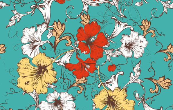Picture flowers, vector, texture, design, pattern, floral