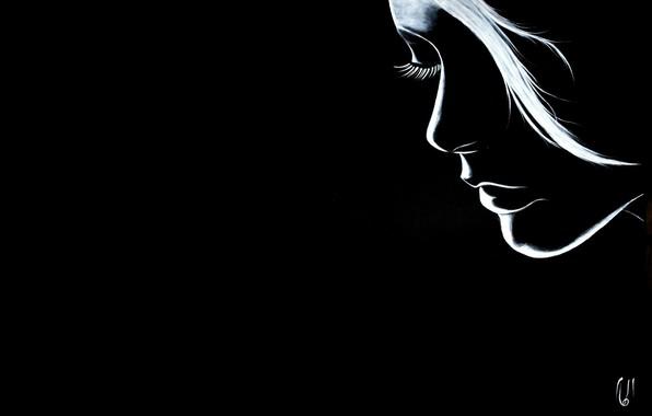 Picture girl, white, black, art, cilia