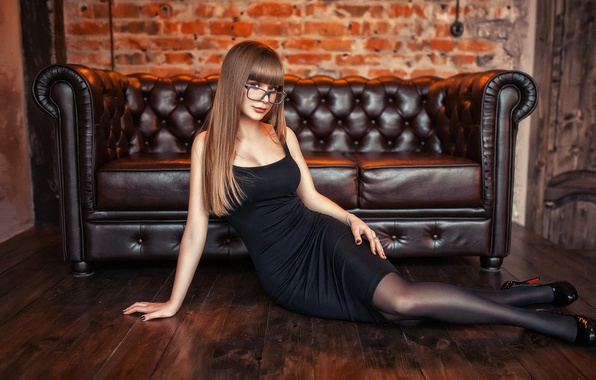 Picture sofa, model, makeup, figure, dress, glasses, hairstyle, shoes, brown hair, on the floor, posing, in …