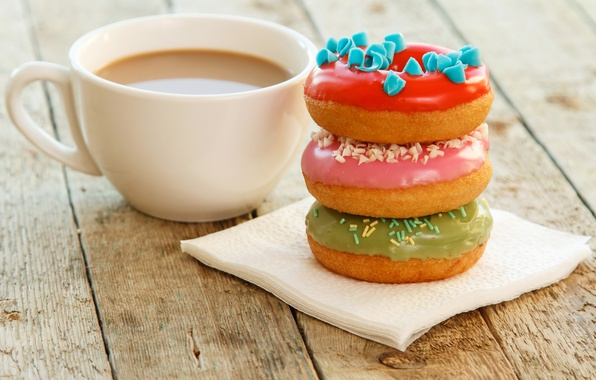 Picture coffee, donuts, cup, glaze, coffee, donuts