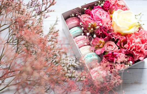 Picture flowers, box, pink, flowers, background, macaron
