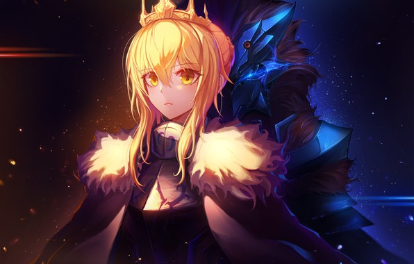 Photo wallpaper girls, anime, crown, saber, fate, fate/grand order, artoria pendragon, inho song