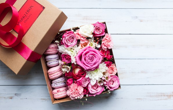 Picture roses, Flowers, Macaroon, Box
