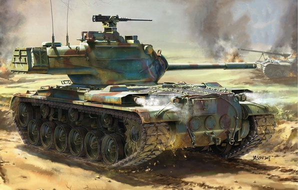 Picture fire, smoke, figure, explosions, art, tank, battlefield, American, average, M47, Patton II