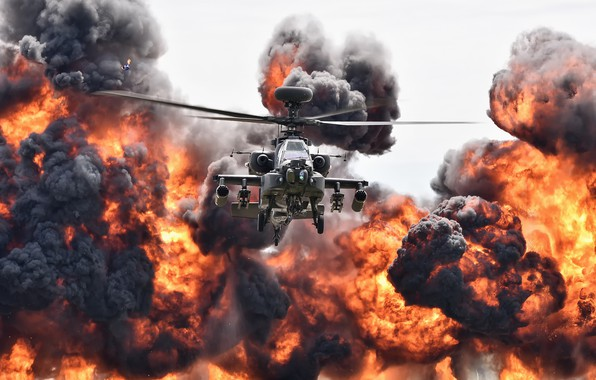 Picture the explosion, fire, helicopter, Apache