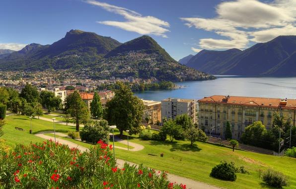 Picture trees, landscape, mountains, lake, building, home, Switzerland, Alps, panorama, Switzerland, Alps, Lake Lugano, Ticino, Ticino, …