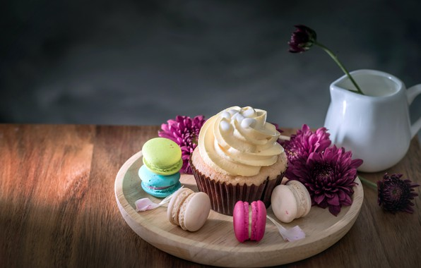 Picture flowers, colorful, dessert, flowers, cakes, sweet, sweet, cupcake, dessert, macaroon, french, macaron, cupcake, macaroon