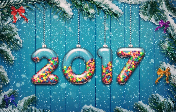 Picture new year, happy, 2017, holiday decoration