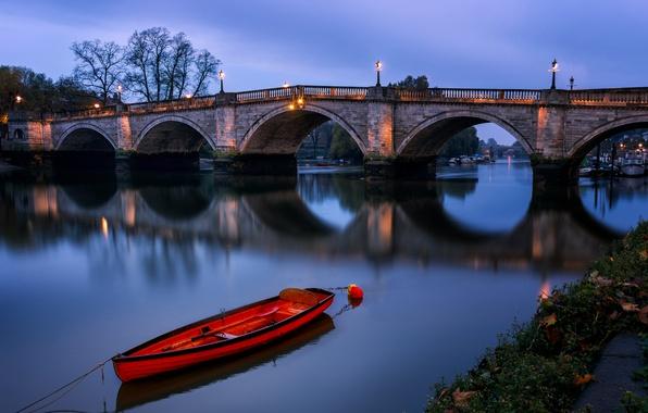 Picture night, boat, England, London, arch, Richmond bridge