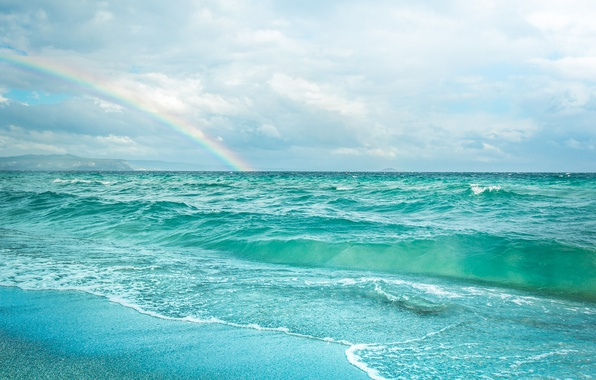 Picture sea, beach, the sky, clouds, the ocean, bird, rainbow