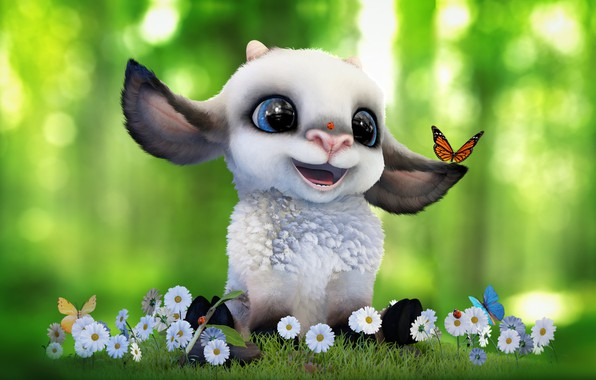 Picture summer, mood, butterfly, Daisy, art, flowers, clearing, baby, sheep, children's, Alina Makarenko, Cartoon sheep