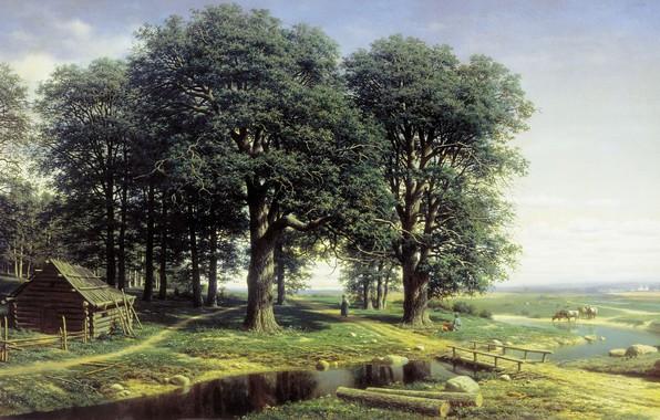 Picture trees, landscape, house, river, picture, Oak Grove, Mikhail Klodt